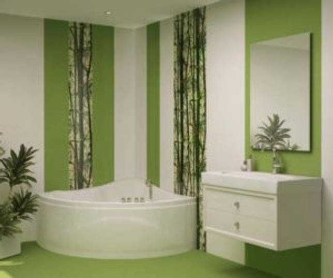 Дизайн ванной с плиткой бамбук